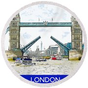 Tower Bridge London England Round Beach Towel