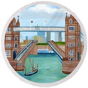 Round Beach Towel featuring the painting Tower Bridge London by Magdalena Frohnsdorff