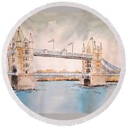 Tower Bridge Round Beach Towel by Marilyn Zalatan