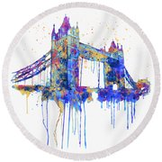 Tower Bridge Watercolor Round Beach Towel by Marian Voicu
