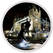 Tower Bridge With Girl And Dolphin Statue Round Beach Towel