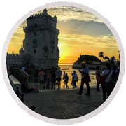 Tower Of Belem Round Beach Towel