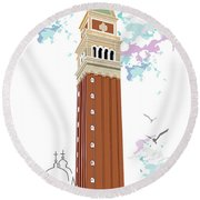 Tower Of Campanile In Venice Round Beach Towel