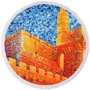 Tower Of David At Night Jerusalem Original Palette Knife Painting Round Beach Towel