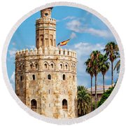 Tower Of Gold Round Beach Towel