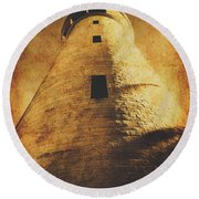 Tower Of Grunge Round Beach Towel