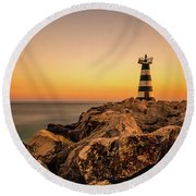 Tower Of Light Round Beach Towel