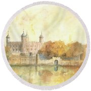 Tower Of London Watercolor Round Beach Towel