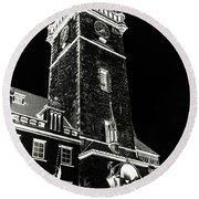 Round Beach Towel featuring the photograph Tower Of Old Town Hall In Prague. Black by Jenny Rainbow