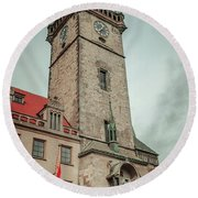 Round Beach Towel featuring the photograph Tower Of Old Town Hall In Prague by Jenny Rainbow