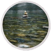 Tower Of Stones Round Beach Towel