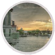 Tower Sunset Round Beach Towel