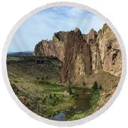 Towering Smith Rocks Round Beach Towel