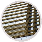 Round Beach Towel featuring the photograph Towering Windows by Karol Livote