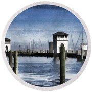 Towers And Masts Round Beach Towel by Roberta Byram