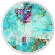 Round Beach Towel featuring the painting Towers by Dominic Piperata