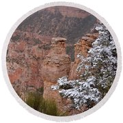 Towers In The Snow Round Beach Towel by Debby Pueschel