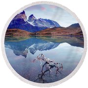 Towers Of The Andes Round Beach Towel by Phyllis Peterson