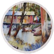 Covered Bridge Over Town Brook Round Beach Towel