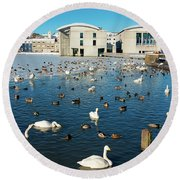 Round Beach Towel featuring the photograph Town Hall And Swans In Reykjavik Iceland by Matthias Hauser