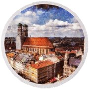 Round Beach Towel featuring the photograph Town Hall. Munich by Sergey Simanovsky