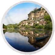 Town Of Beynac-et-cazenac Alongside Dordogne River Round Beach Towel