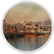 Round Beach Towel featuring the photograph Town Of Roses by Hanny Heim