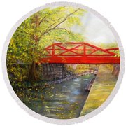 Towpath In New Hope Round Beach Towel