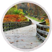 Towpath In Summit County Ohio Round Beach Towel