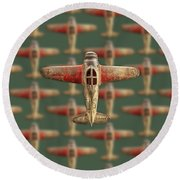Round Beach Towel featuring the photograph Toy Airplane Scrapper Pattern by YoPedro