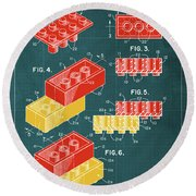 Toy Building Brick Patent Year 1958 Blueprint Round Beach Towel
