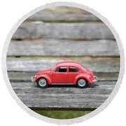 Toy Car On A Bench Round Beach Towel