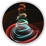 Round Beach Towel featuring the digital art Toy Pyramid by Anastasiya Malakhova
