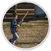 Toy Soldier Engages At Fort Washington Round Beach Towel by Jeff at JSJ Photography