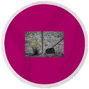 Toy Wheelbarrow And Wild Flowers Round Beach Towel