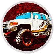 Toyota Fj Cruiser 4x4 Cartoon Panel From Vivachas Round Beach Towel