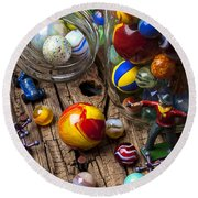 Toys And Marbles Round Beach Towel