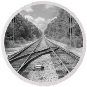 Round Beach Towel featuring the photograph Tracks 2 by Mike McGlothlen