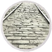 Tracks In The Road Round Beach Towel by Gary Smith