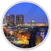 Tracks Into The City Wide Angle Round Beach Towel