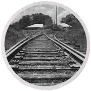 Round Beach Towel featuring the photograph Tracks by Mike McGlothlen