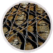Tracks Of Abandon Round Beach Towel by Michael Nowotny