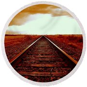 Marfa Texas America Southwest Tracks To California Round Beach Towel by Michael Hoard