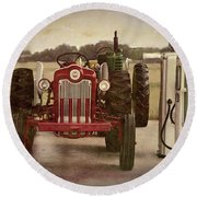 Tractor And Gas Pumps Round Beach Towel