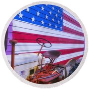 Tractor And Large Flag Round Beach Towel