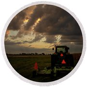 Tractor At Sunrise - Chester Nebraska Round Beach Towel