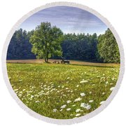 Tractor In Field With Flowers Round Beach Towel