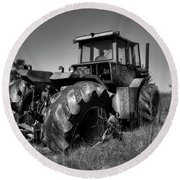 Tractor In The Countryside Round Beach Towel