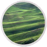 Tractor Tracks Agriculture Art By Kaylyn Franks Round Beach Towel