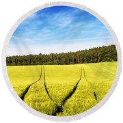 Tractor Tracks In Wheat Field Round Beach Towel